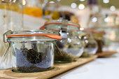 Tea leaves in the glass jars