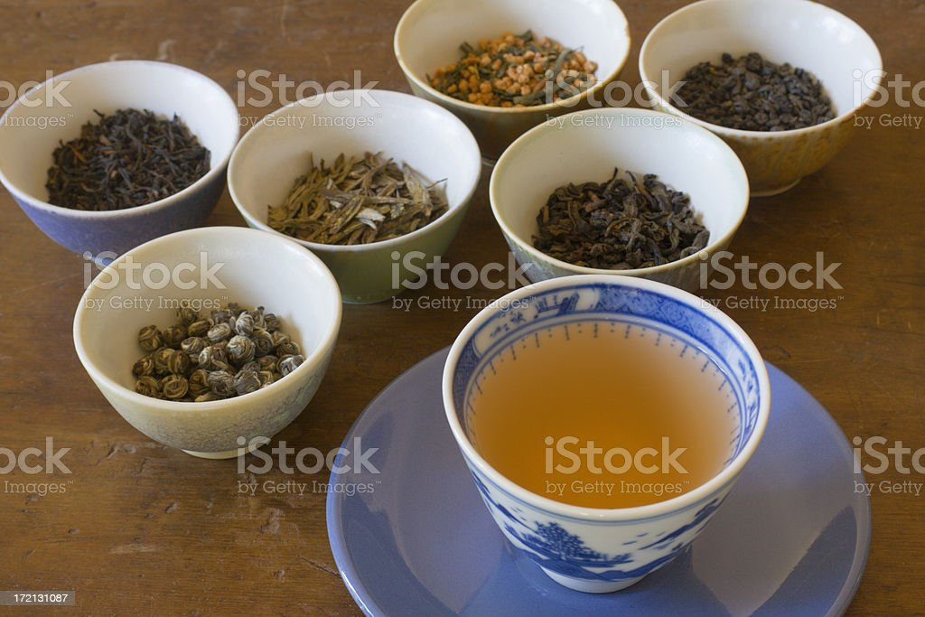 Tea Leaves Tasting Varieties with Poured Cup of Hot Drink stock photo