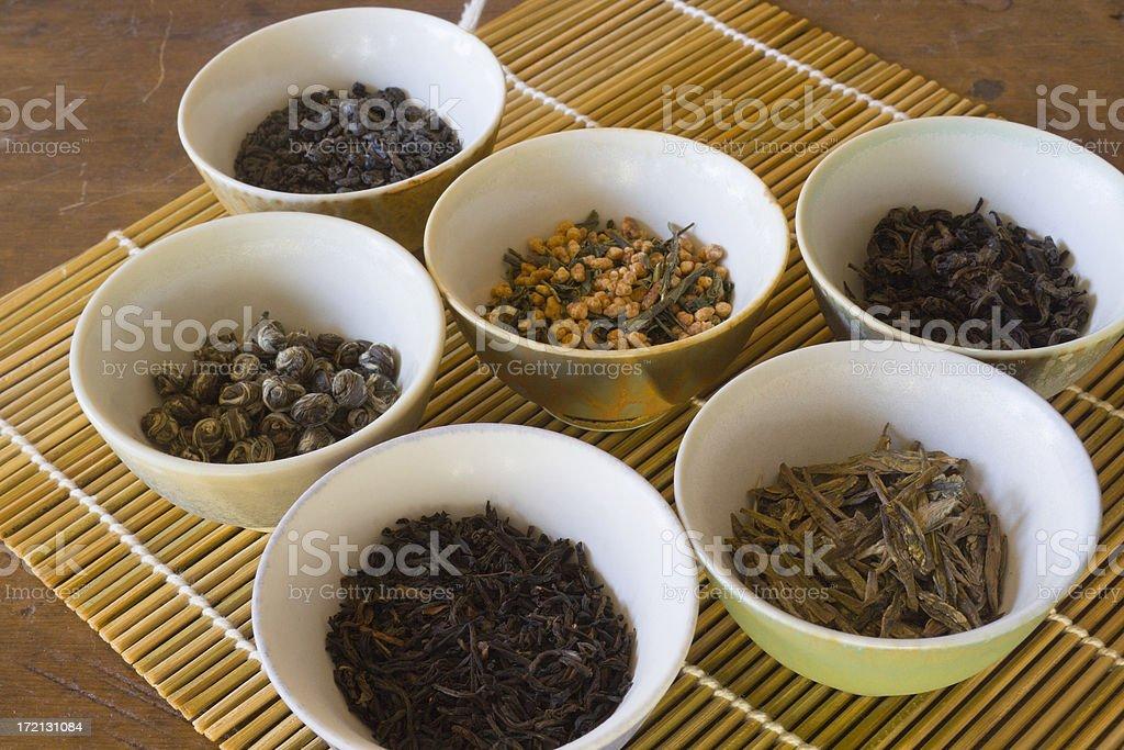 Tea Leaves Varieties of Chinese, Japanese, Asian Loose Leaf Drink stock photo