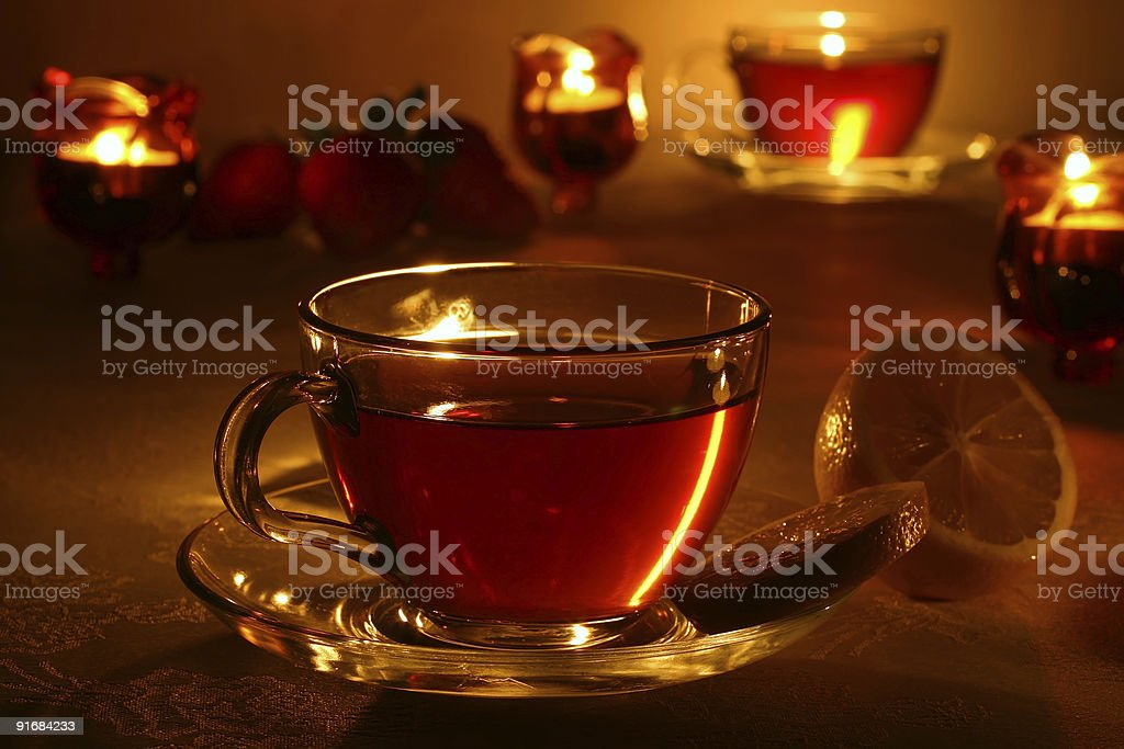 tea, lemon, and candles royalty-free stock photo