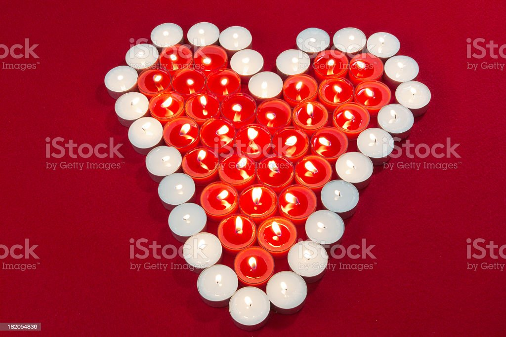 Tea Light Heart on Red royalty-free stock photo