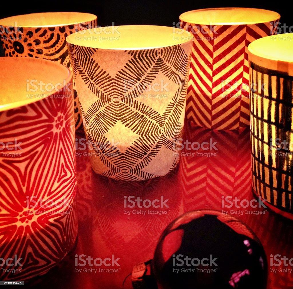 Tea lights and Christmas ball stock photo