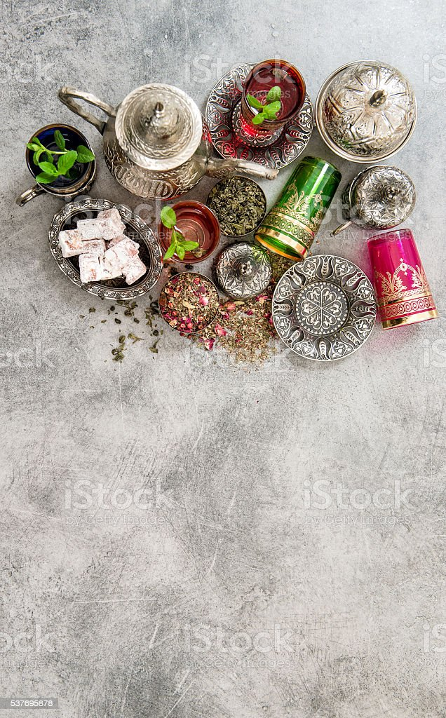 Tea mint leaves traditional turkish delight arabic food stock photo