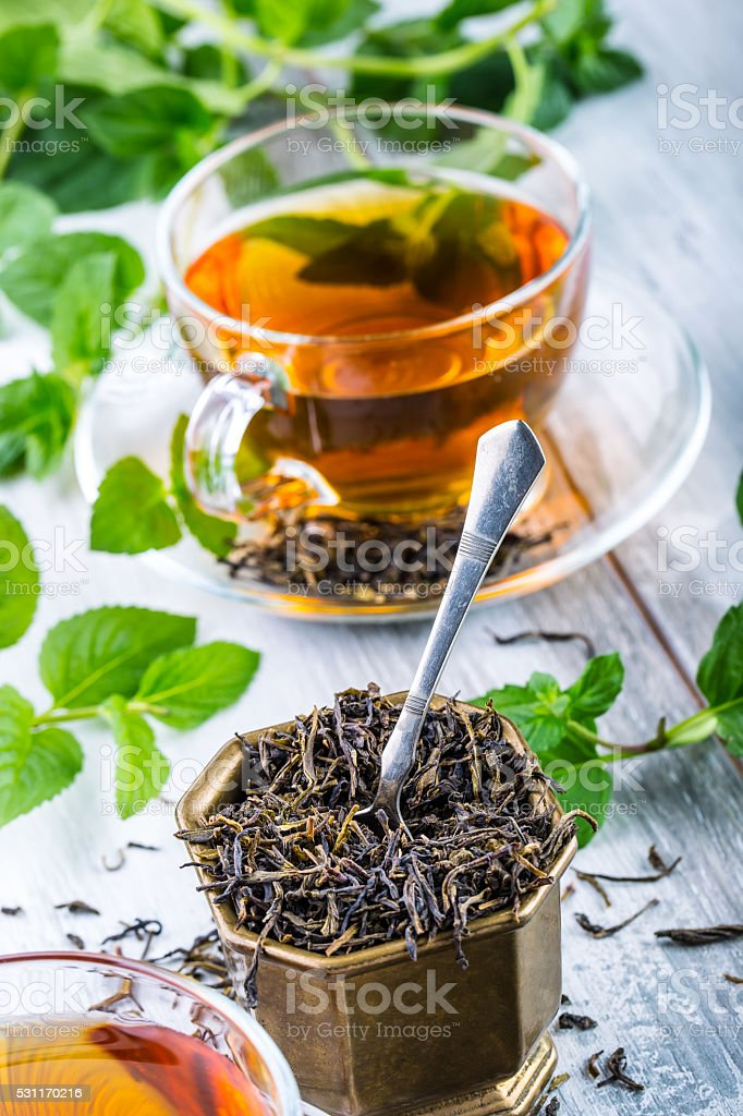 Tea. Mint Tea. Herbal tea. Mint leaf. Mint leaves. stock photo