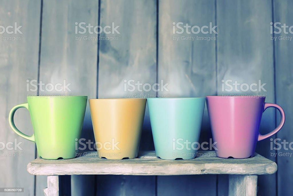 Tea mugs stock photo