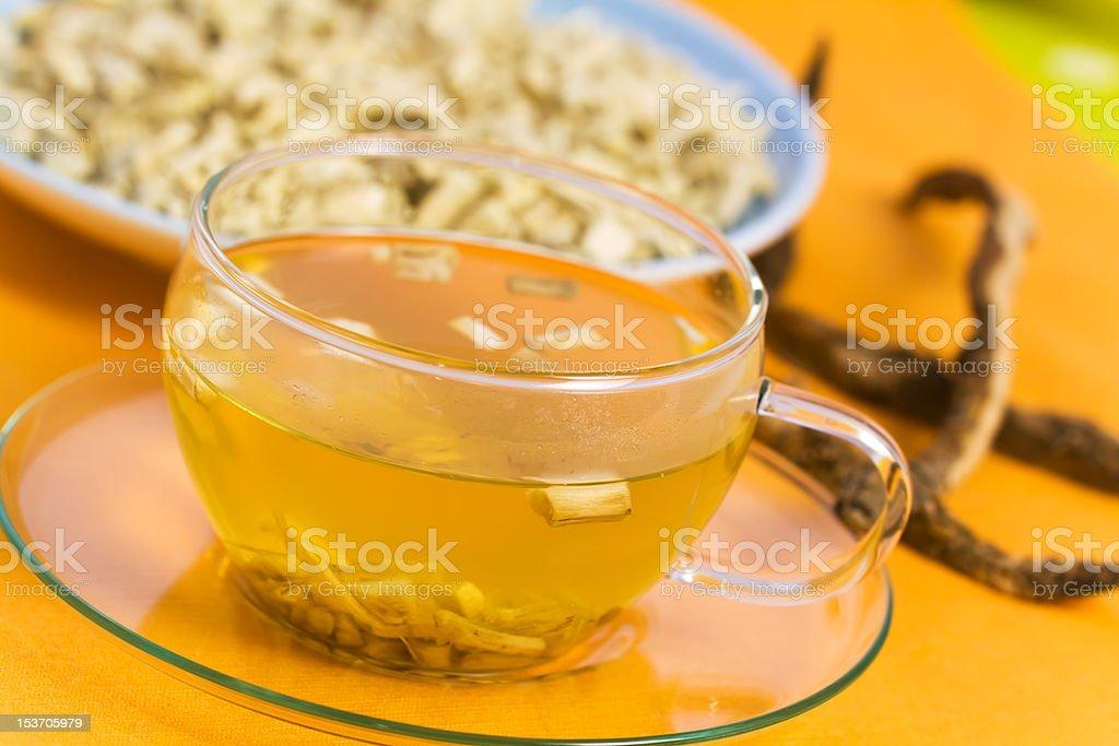 Tea of Root , Marshmallow , herbal Medicine stock photo