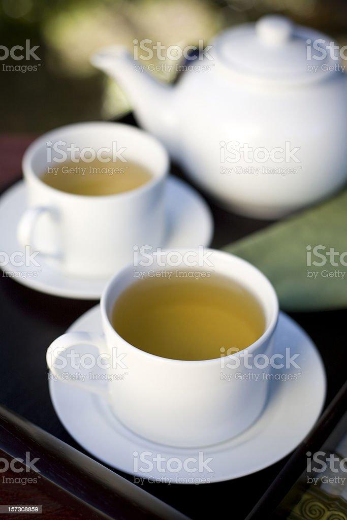 tea on mahogany tray royalty-free stock photo