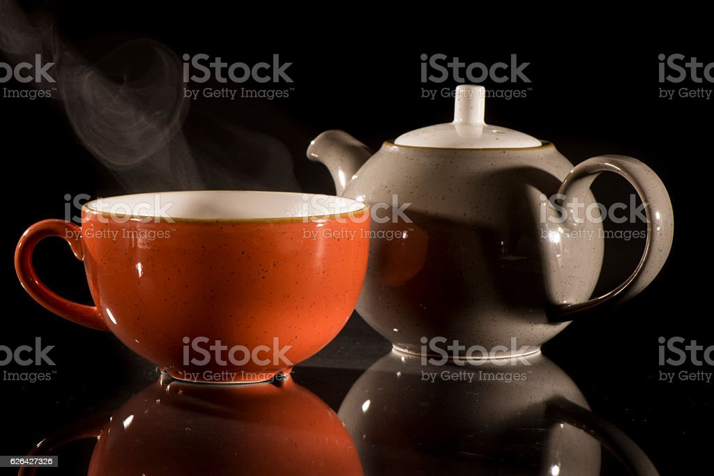 Tea or coffe in cup stock photo