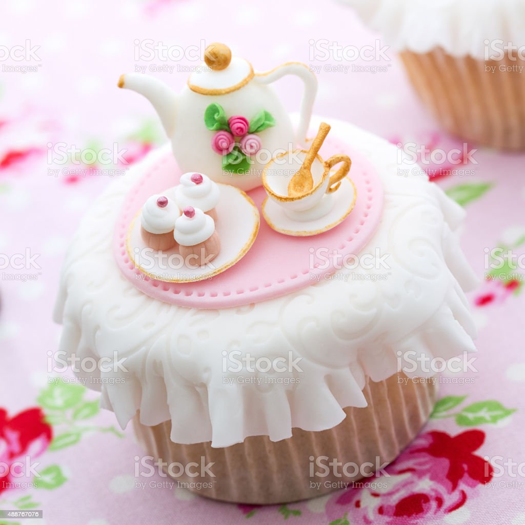 Tea party cupcake stock photo