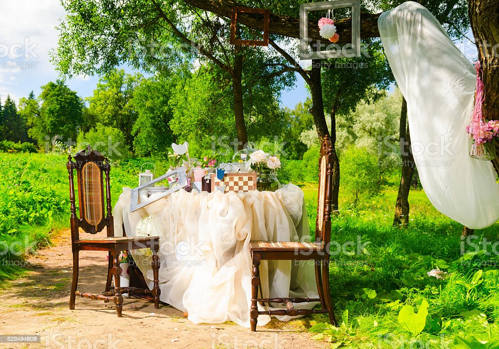 tea party in park stock photo