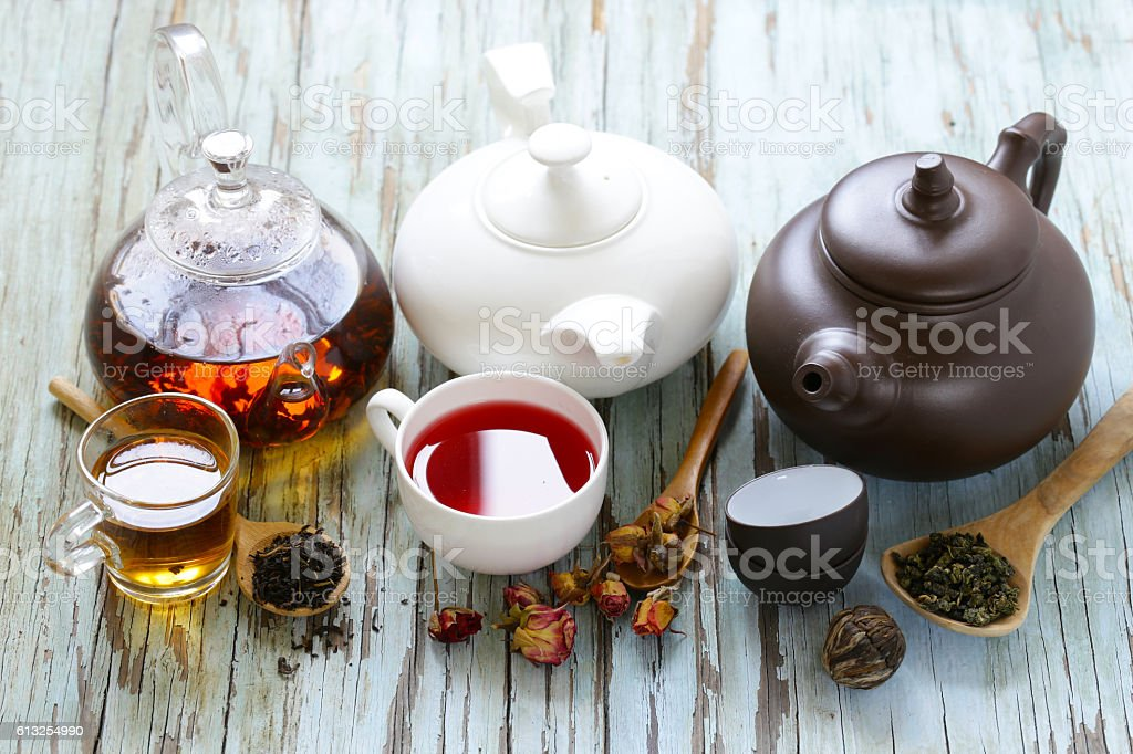 Tea Party Still Life assortment tea stock photo