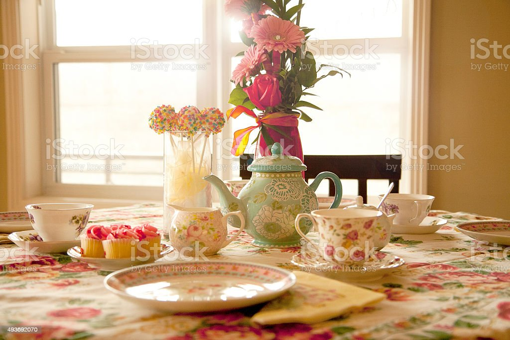 Tea Party table set up stock photo