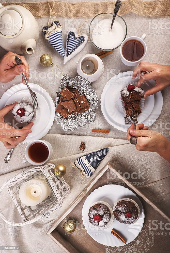 Tea party with muffins stock photo