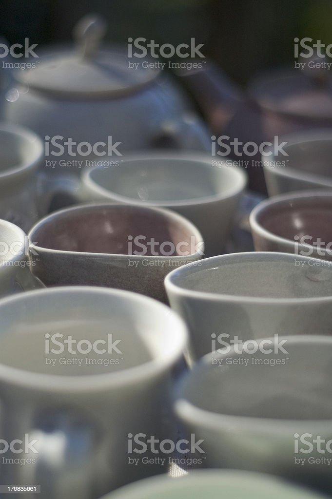 Tea pot and cups stock photo