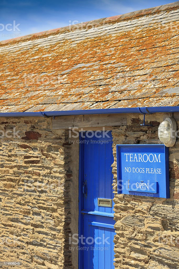 tea room sign on a building in Cornwall royalty-free stock photo