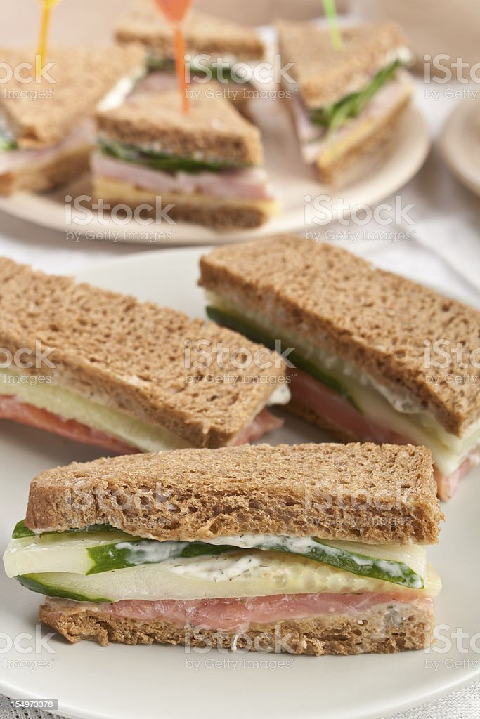 Tea sandwiches on healthy whole wheat bread royalty-free stock photo