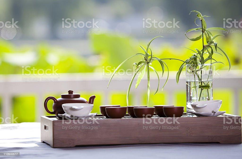 Tea set at outdoors stock photo