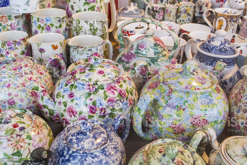 tea set on market stall stock photo
