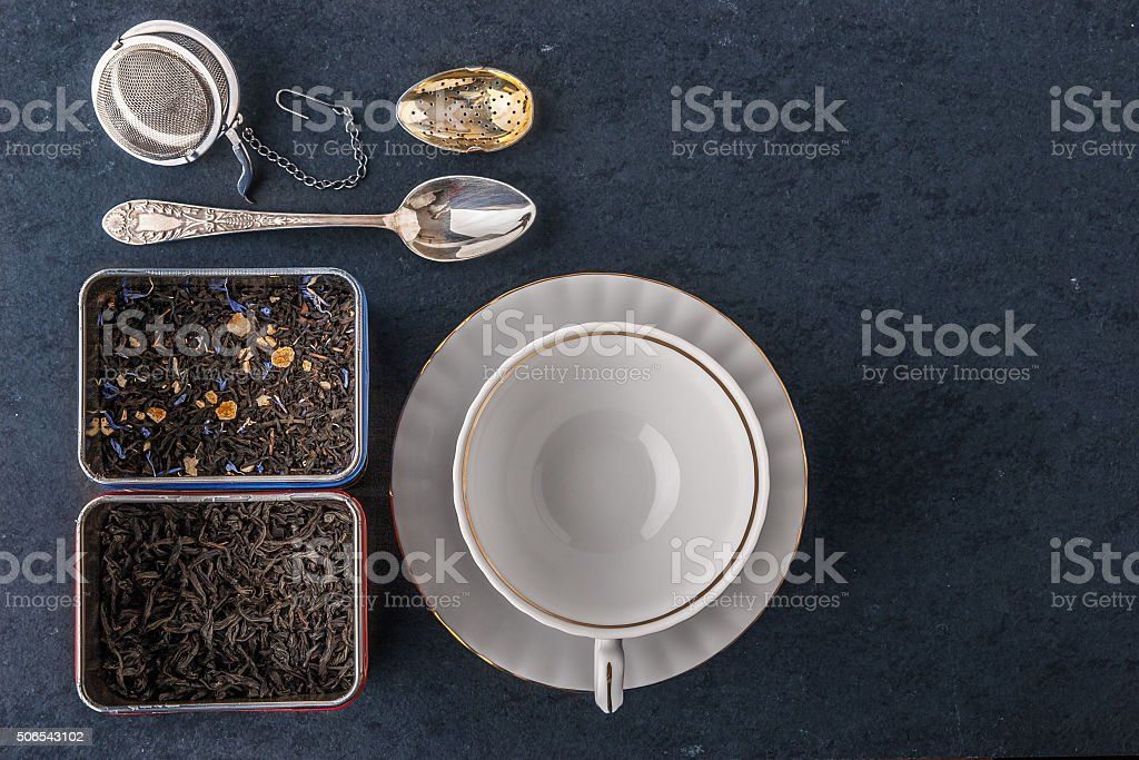 Tea set on the  dark stone table stock photo