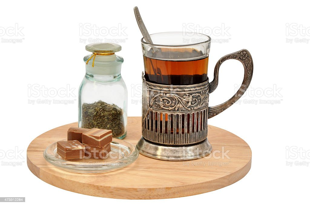 Tea set with glass-holder isolated stock photo