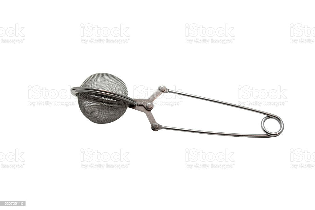 Tea strainer clamp on the white background. stock photo