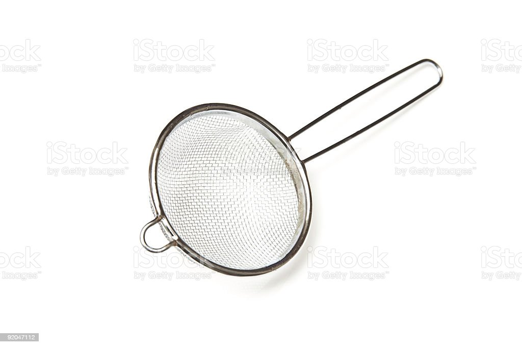 Tea strainer or sieve on a white background stock photo