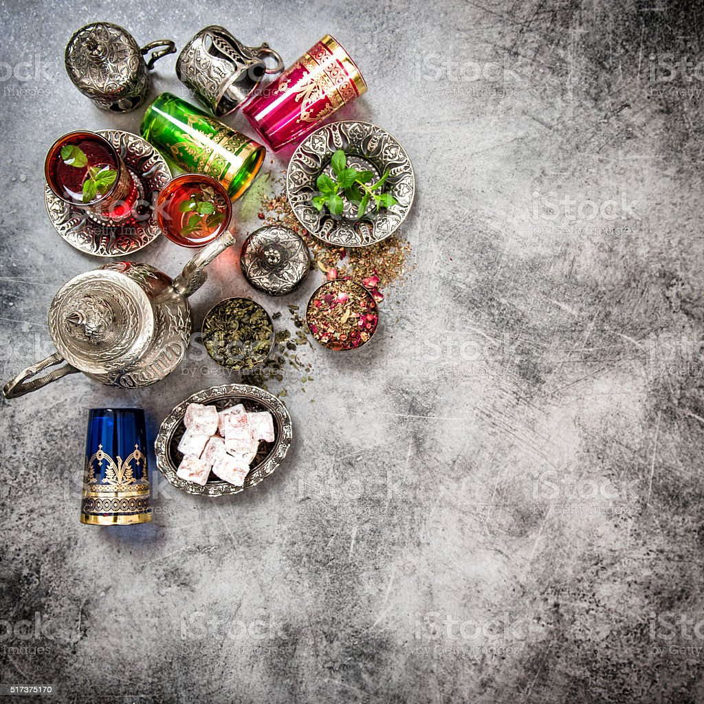 Tea table. Oriental hospitality. Eid Mubarak vintage stock photo