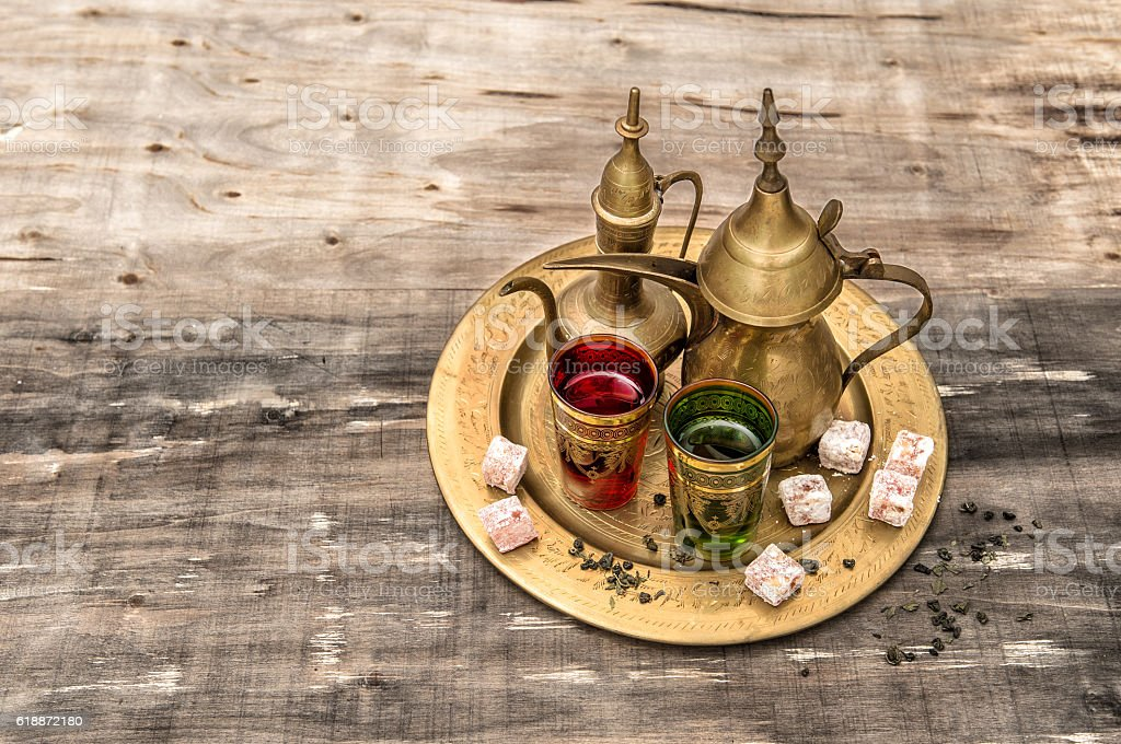 Tea table setting. Oriental hospitality. Eid Mubarak stock photo