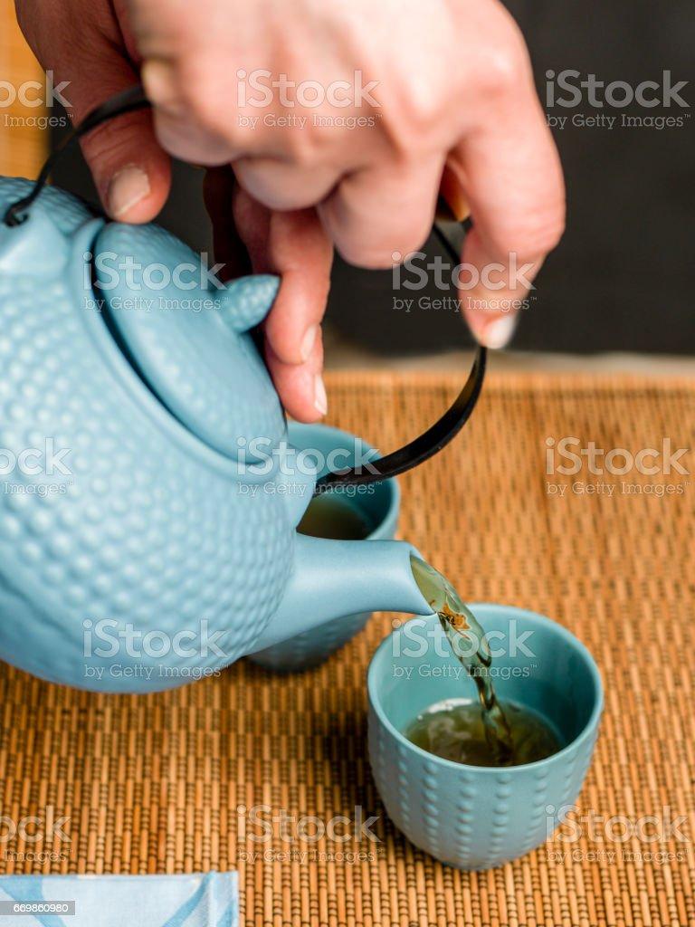 Tea time asian way stock photo