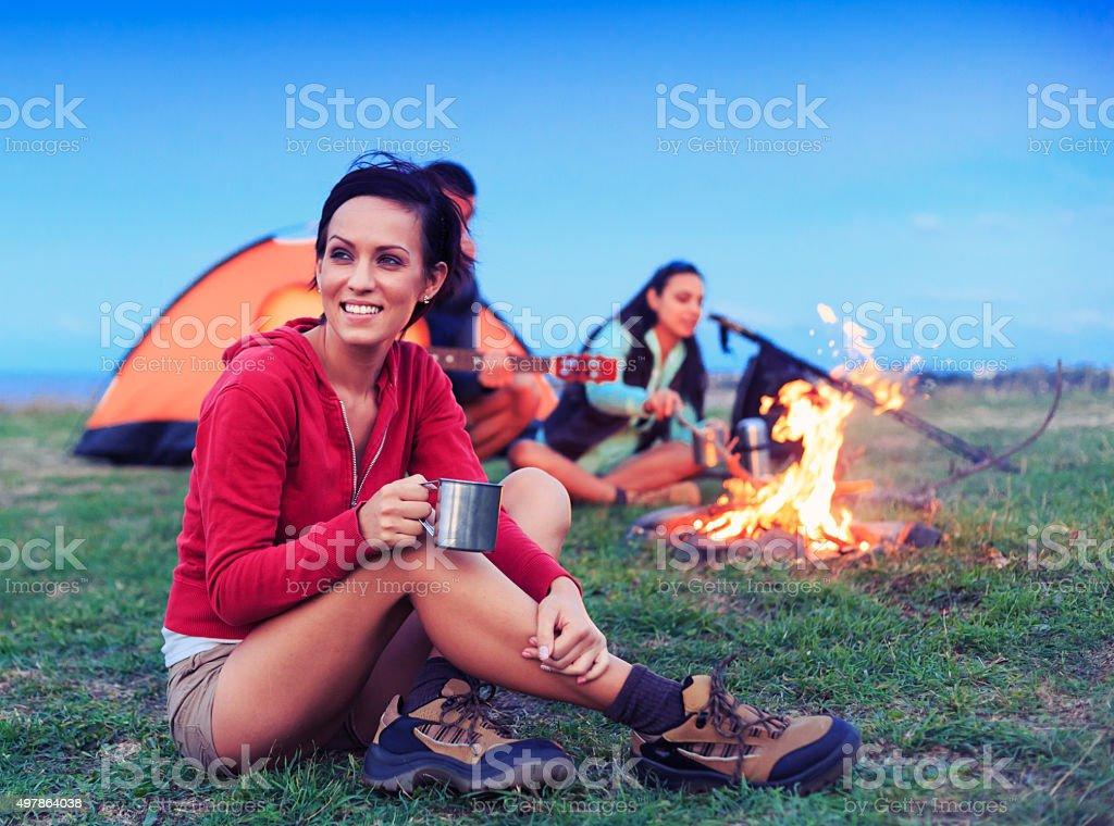 Tea time at camp stock photo