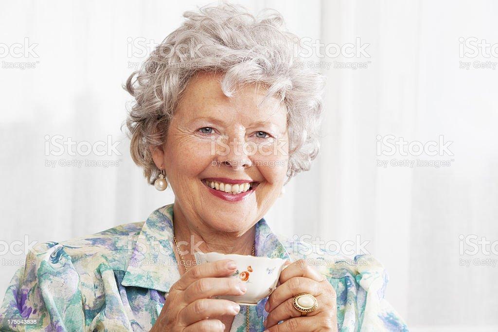 tea time for senior lady royalty-free stock photo
