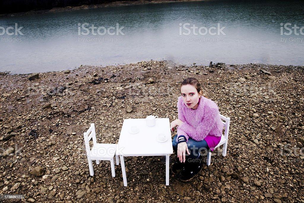 Tea time picnic on a rainy day royalty-free stock photo