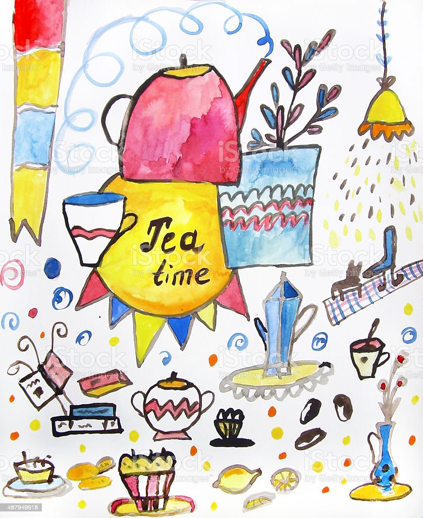 Tea time watercolor illustration stock photo