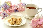 Tea time with hydrangea flowers