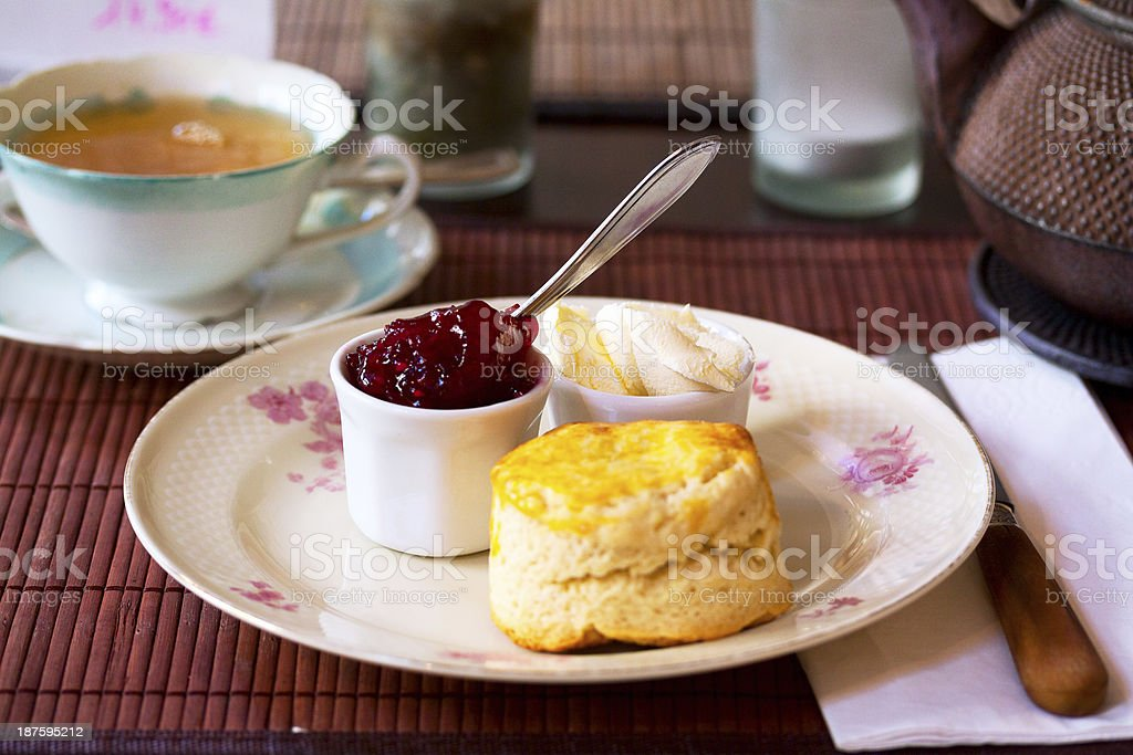 Tea time with scones and jam stock photo