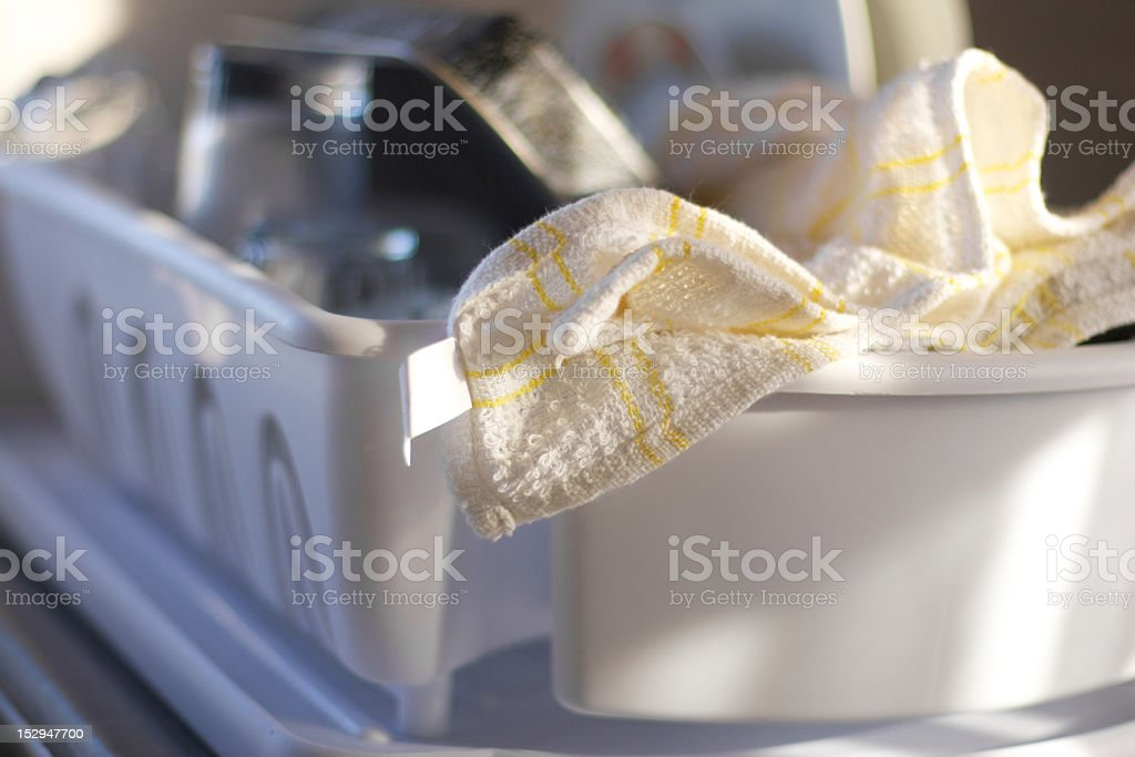 Tea Towel & Washing Up Drainer stock photo