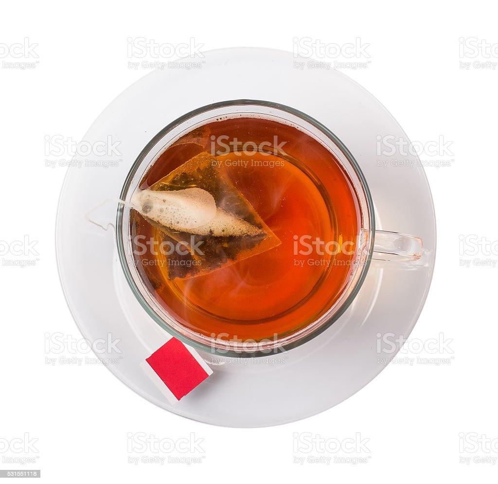 Tea with a bag a pyramid on a stock photo