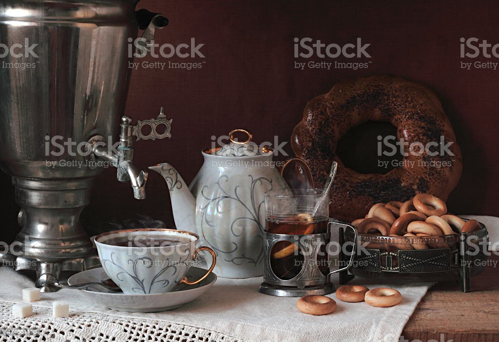 Tea with a samovar with bagels and drying stock photo