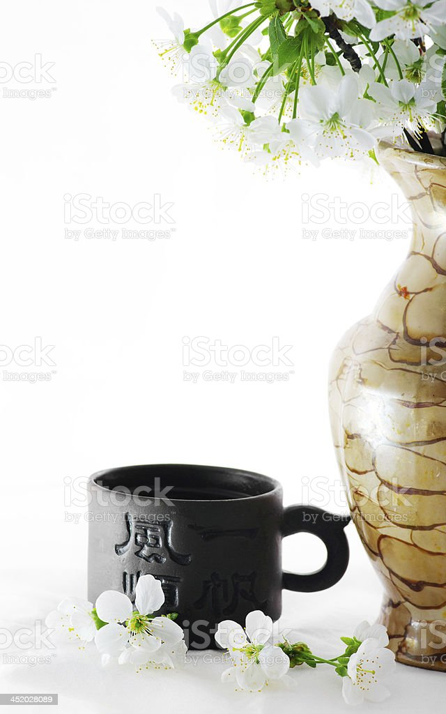 tea with cherry flowers over white background stock photo
