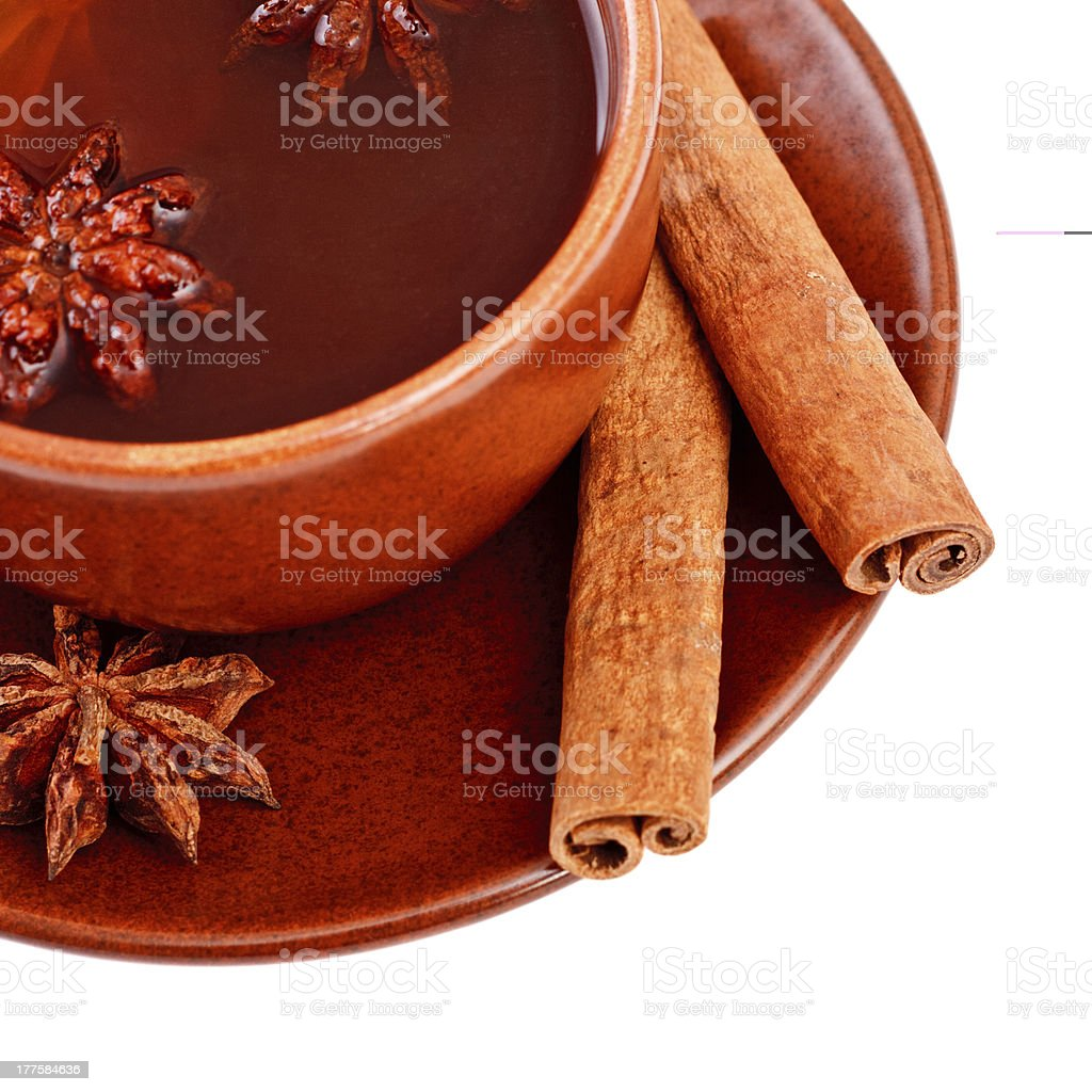 tea with cinnamon sticks and star anise royalty-free stock photo