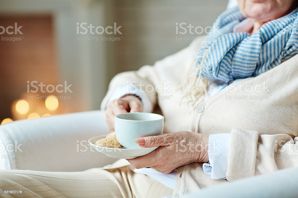 Tea with cookie stock photo