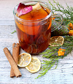 Tea with dried fruits, citrus and cinnamon
