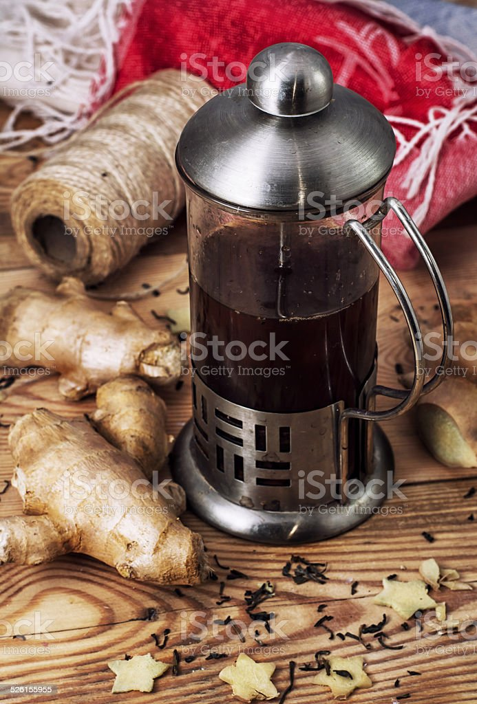 tea with ginger root stock photo