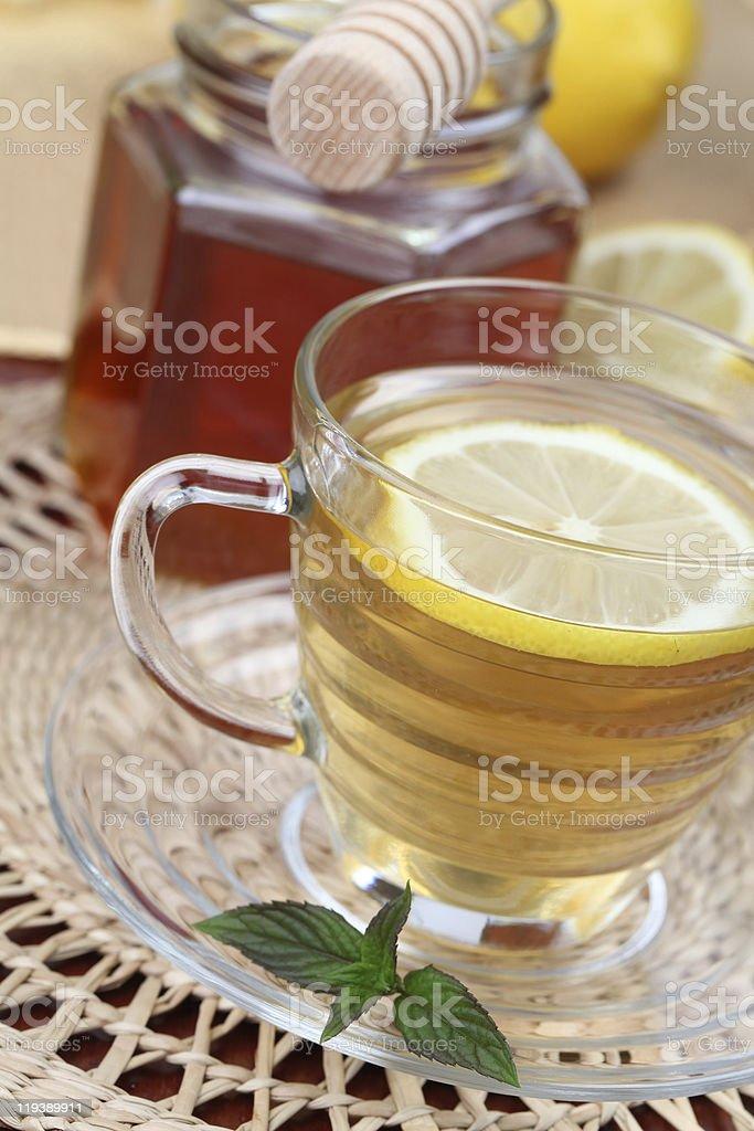 Tea with honey and lemon royalty-free stock photo