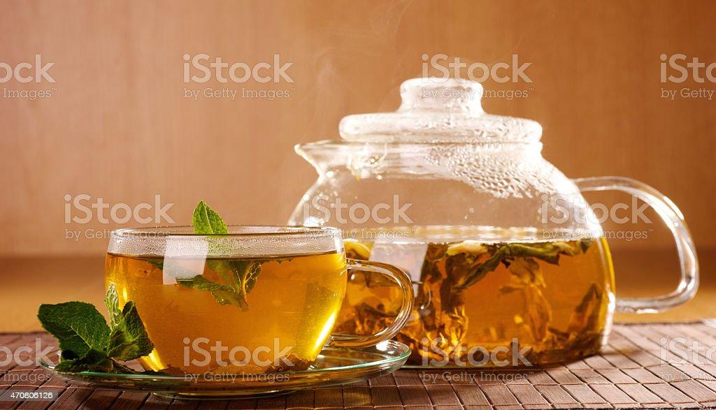 차, 꿀, 민트 royalty-free 스톡 사진