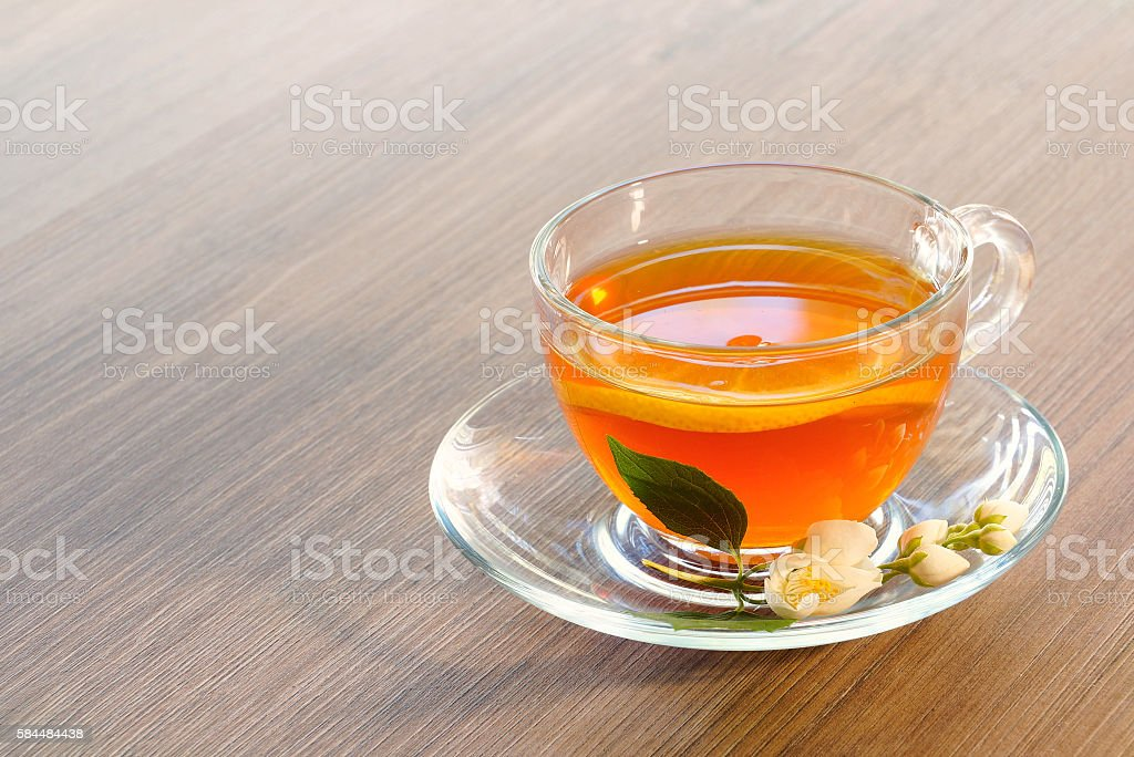Tea with lemon and jasmine flower stock photo