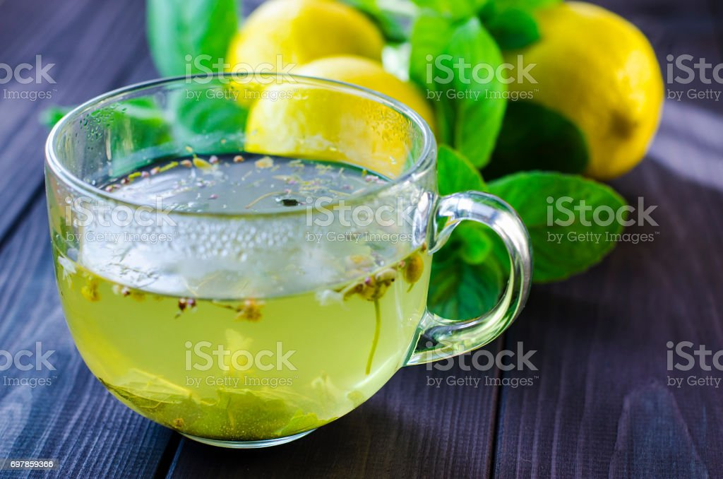 Tea with lemon and mint stock photo