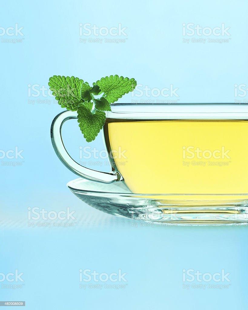 Tea with lemon balm stock photo