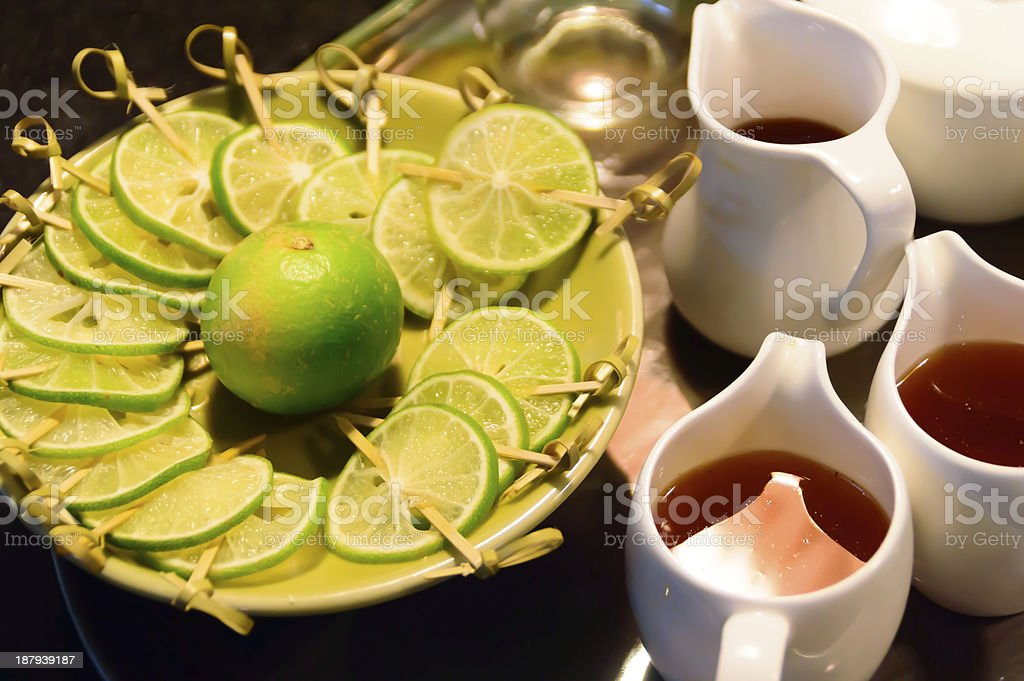 tea with lemon in coffee shop royalty-free stock photo