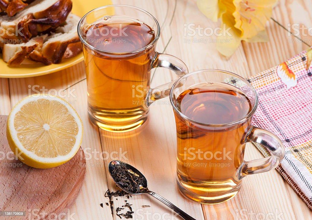Tea with lemon. stock photo